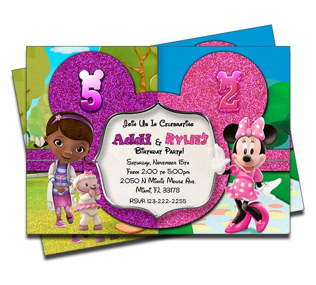 PRINTED Doc McStuffins And Minnie Mouse Boutique Double Joint Twins Siblings Personalized Birthday Invitation