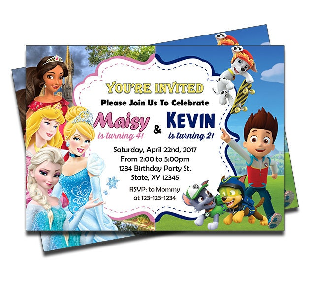 PRINTED Disney Princesses Elena Cinderella And Paw Patrol Dogs Joint Twins Siblings Personalized Birthday Invitation