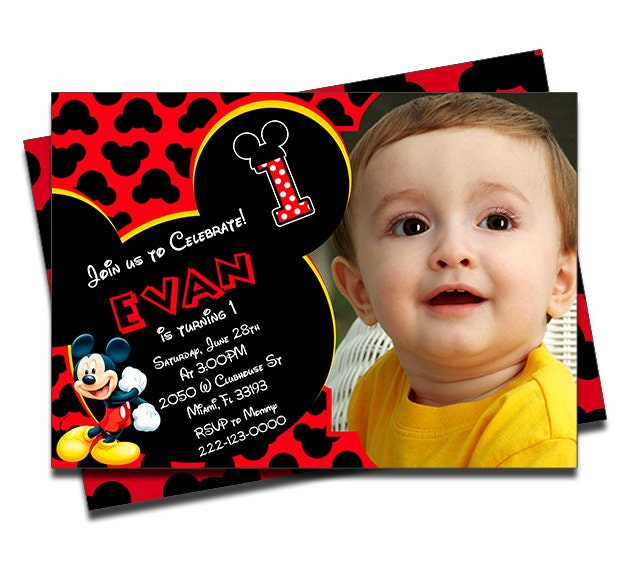 PRINTED Mickey Mouse Clubhouse Personalized Birthday Invitation For Boys