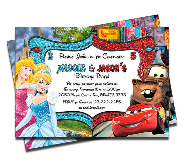 PRINTED Disney Princesses And Cars Joint Twins Siblings Personalized Birthday Invitation