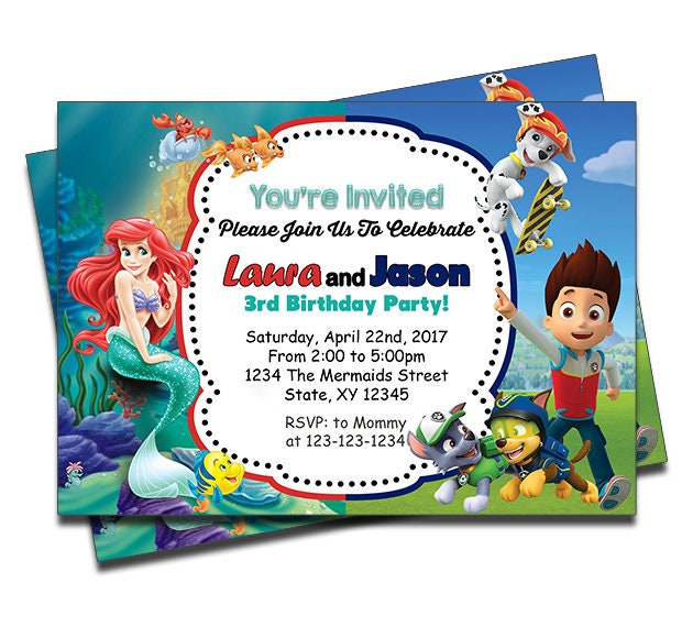 PRINTED Little Mermaid And Paw Patrol Double Joint Twins Siblings Personalized Birthday Invitation