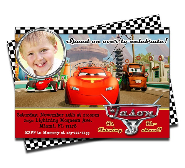 PRINTED Disney Cars Lightning McQueen Personalized Birthday Invitation For Boys