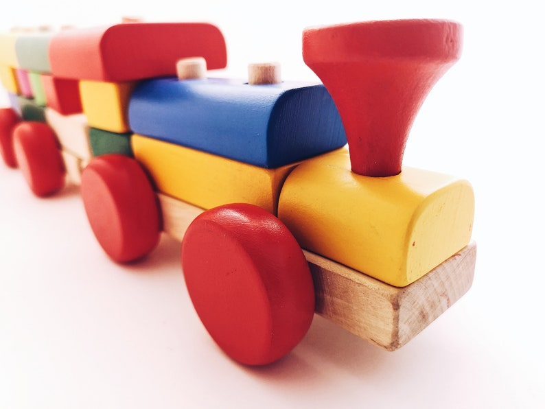 Colorful Train Kids Wooden Activity Birch Gift Toddler Baby Game Eco-Friendly Natural