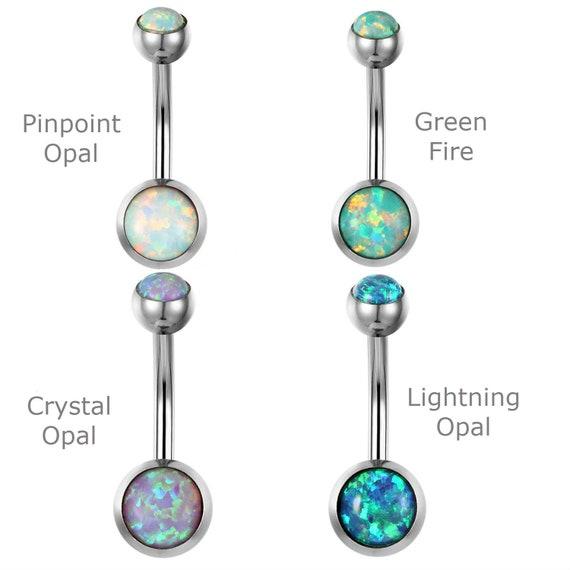 Externally Threaded 14G Surgical Steel • Navel Belly Button Ring Opal Glitter