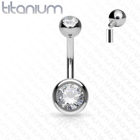 Titanium Internally Threaded Belly Ring With Top /& Bottom CZ Clear Gem Balls
