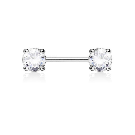 PAIR Double Star Gem Nipple Rings Barbells 14g 14 gauge