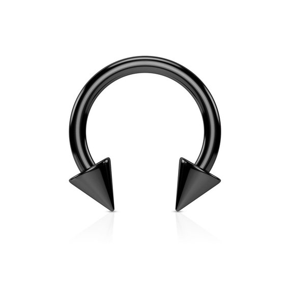 Covet Jewelry Black PVD Plated Over 316L Surgical Stainless Steel Horseshoe with Multi Gemmed Balls