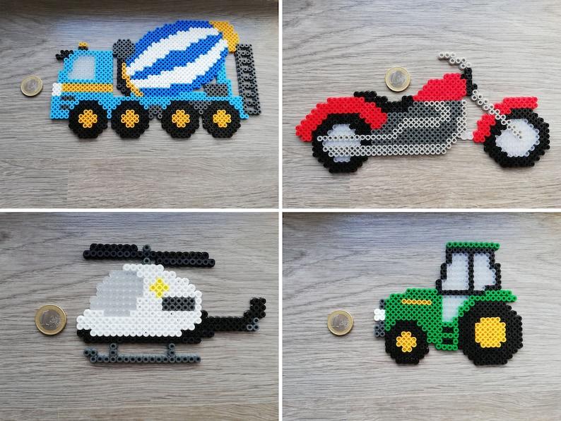 Vehicles Concrete Mixer Car Motor Helicopter Tractor Hama Beads Perler Beads Handmade Gift For Kids Motorbike