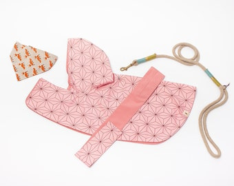 Dog raincoat with splendid Japan traditional pattern [ Pink Twist ],  water resistant, double side wareable,