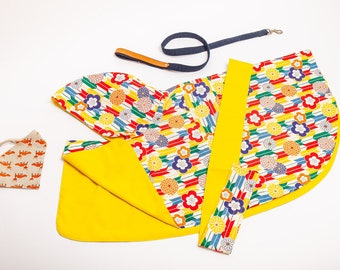 Dog raincoat with splendid Japan traditional pattern,  water resistant, double side wareable,