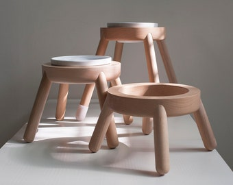 Raise dog bowl stand, HEIGHT/TILTED CUSTOMIZABLE, Minimalist design