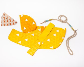 Dog raincoat with splendid Japan traditional pattern [ Yellow-orange Triangle ],  water resistant, double side wareable,