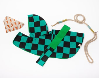 Dog raincoat with splendid Japan traditional pattern [ Green-black Squares ],  water resistant, double side wareable,