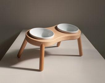 Raised Cat Bowl, HEIGHT/TILTED CUSTOMIZABLE, Minimalist design, the Peanut