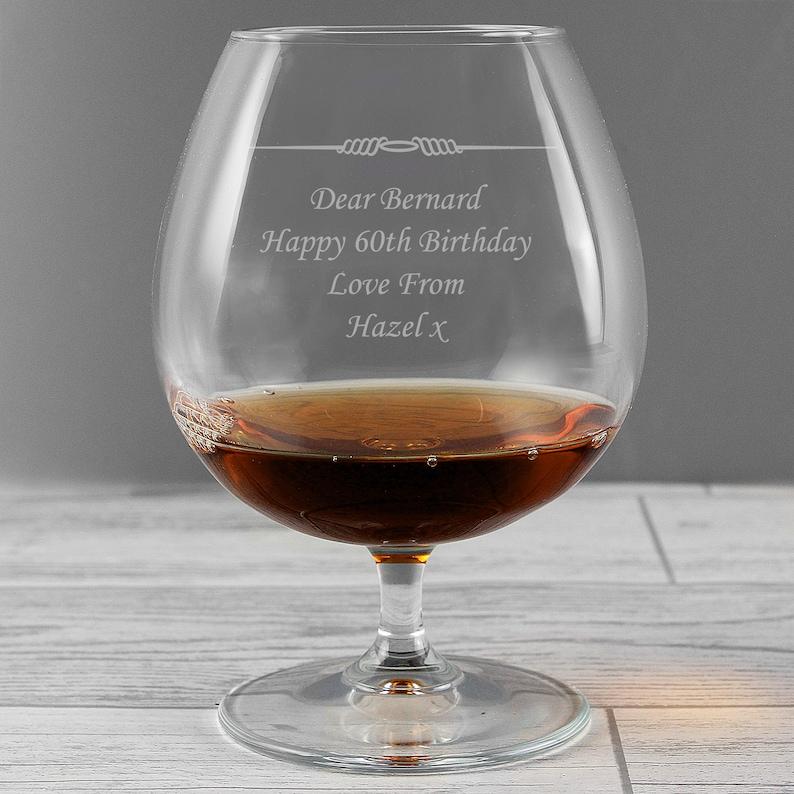 Personalised brandy glass by personalisedpresentz on Etsy - best boozy gifts