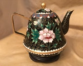 Antique Chinese Cloisonné Black Gold Gilt Teapot with Carved Wood Stand Gilded Brass and Enamel Gift