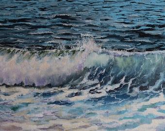 Rolling ocean wave. Original oil seascape. Crashing waves. Ocean painting. Translucent waves. Stormy ocean. Seaside for home decor. Seascape