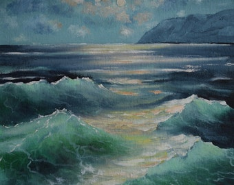 Translucent ocean wave. Original oil seascape. Waves of the ocean Storm on the sea Turquoise water of the ocean Clouds in the sky over ocean