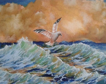 Abstract seascape with seagull. Original oil seascape with seagull. Bright colors painting. Ocean Sunset. Translucent wave. Coastal Scene.