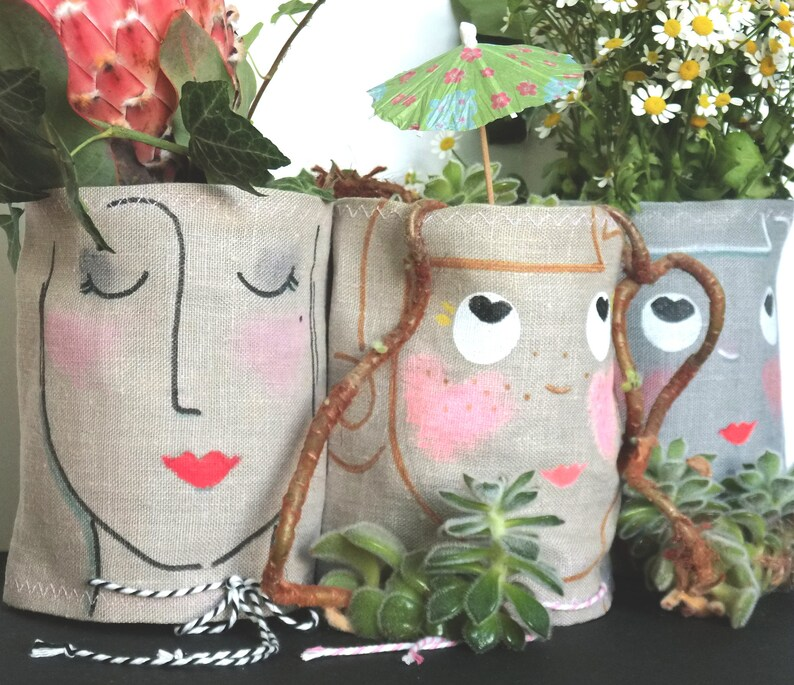 Husse for mason jars or cans linen handmade scandi cover image 0