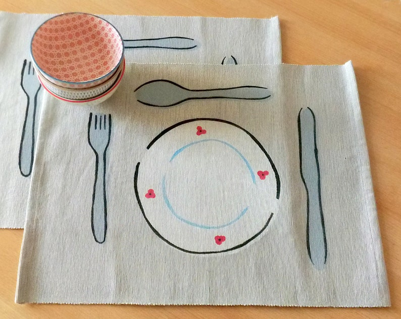 Table set Luise handmade cotton scandi print Gray