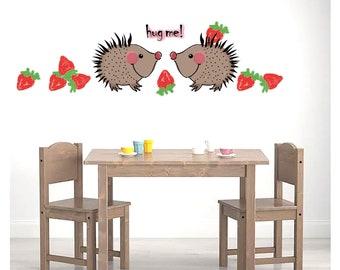 "Sticker sheet ""Kurt the hedgehog"" apples strawberries upcycling diy renovate wall tattoo glue ikea hack sticker igel hemnes"