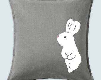 "Cushion cover ""Bob"" velvet print cotton bunny handmade scandi cute bunny kids deko male Easter rabbit 50x50"