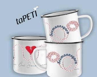 "Enamel cup ""seaman's yarn"" handmade scandi maritim heart yarn seafaring deko camping outdoor cup cup lettering text dishwasher"