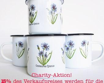 "Enamel Mug ""Cornflower"" handmade scandi charity cornflower camping outdoor mug cup dishwasher botanical illustration vintage donation"