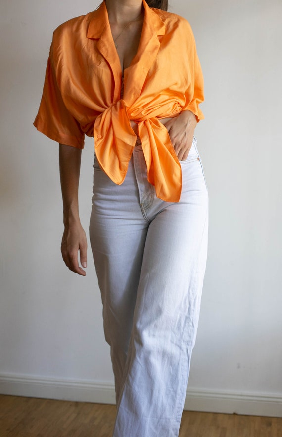 Vintage orange blouse, silk shirt, 80s top, oversi