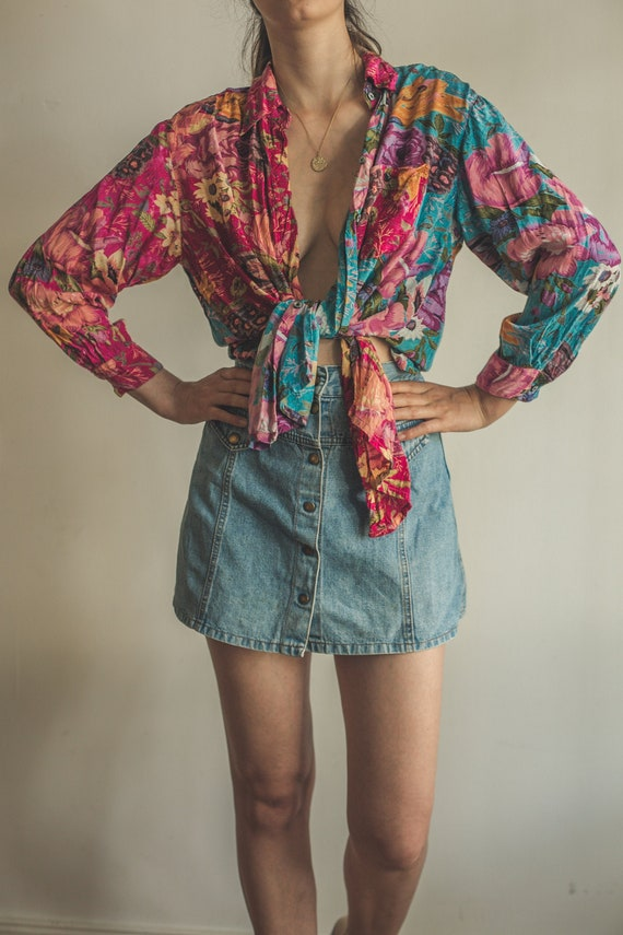 Vintage flower blouse, floral shirt
