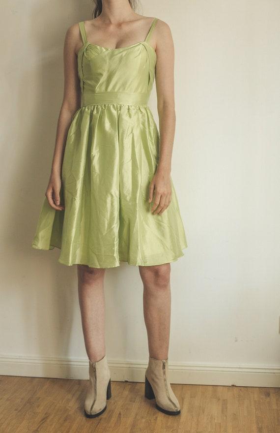 pastel green cocktail dress, vintage prom dress, a