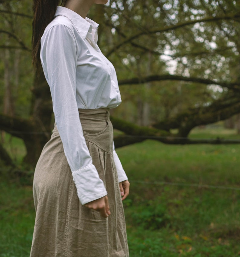 Edwardian blouse romantic long sleeve top Vintage white blouse size XL