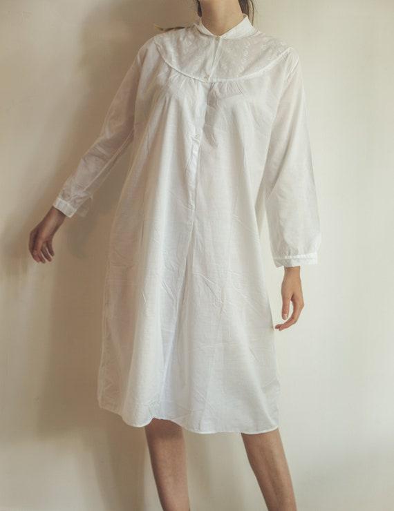 Vintage white nightgown, cotton nightie, cottage c