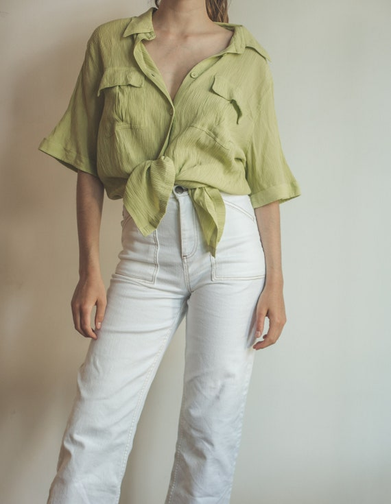 Vintage lime green oversized blouse, summer blouse