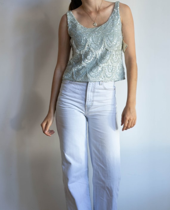 Vintage sequin top in light blue.  disco camisole,