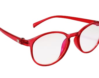 0c4c3d242b49 Red Water colored Transparent Eye wear Frame in Vintage Retro Look