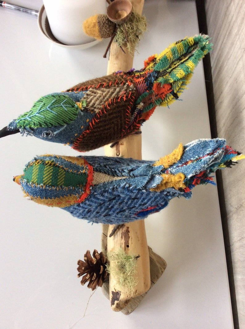 tweed,patchwork plaid driftwood artist fabric bird handmade soft sculpture Two hand stitched birds songbirds tartan OOAK