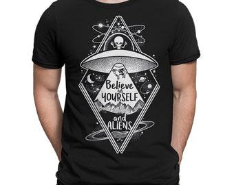 c1ba84221 Believe In Yourself And Aliens T-Shirt, UFO Tee, Men's Women's All Sizes