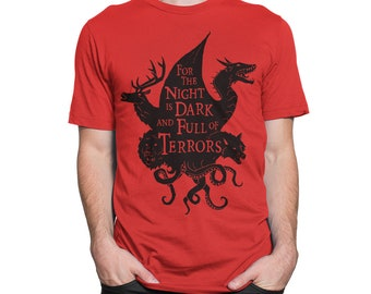 90babf61c Game of Thrones Art T-Shirt, The Night Is Dark And Full Of Terrors Tee, All  Sizes