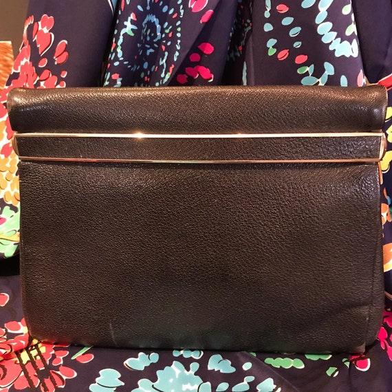 1930/40's Navy Leather Clutch Handbag