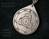 Fourth Pentacle of Saturn pendant 4th King solomon seal of Saturn Solomonic magic made of brass stainless steel copper with custom text