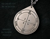 Fourth pentacle of Mars pendant 4th king solomon seal of mars Solomon pentacle magic brass stainless steel copper with custom text