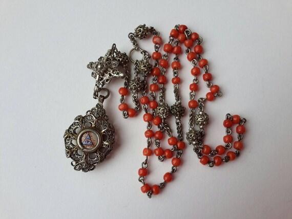 Bavarian Rosary XIXTH silver coral enamel antique