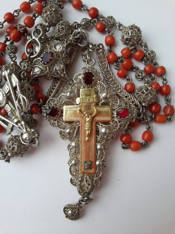 Large Rosary Bavarian XIX silver filigred coral be