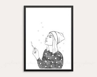 Girl Blowing Smoke Etsy