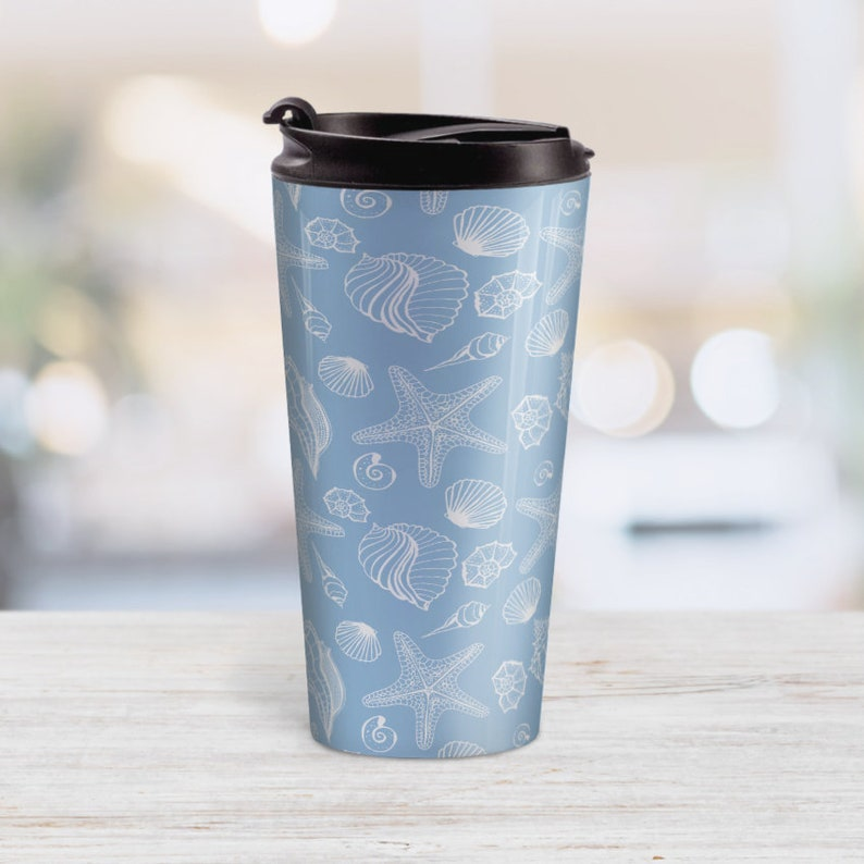 white seashell pattern on blue Blue Beach Travel Mug 15oz stainless steel travel mug