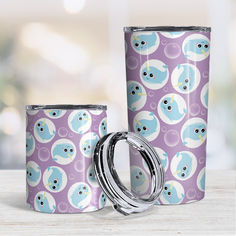 hot or cold beverages 10oz or 20oz insulated cup Purple Narwhal Tumbler Cup cute pattern of narwhals and bubbles iced coffee tumbler