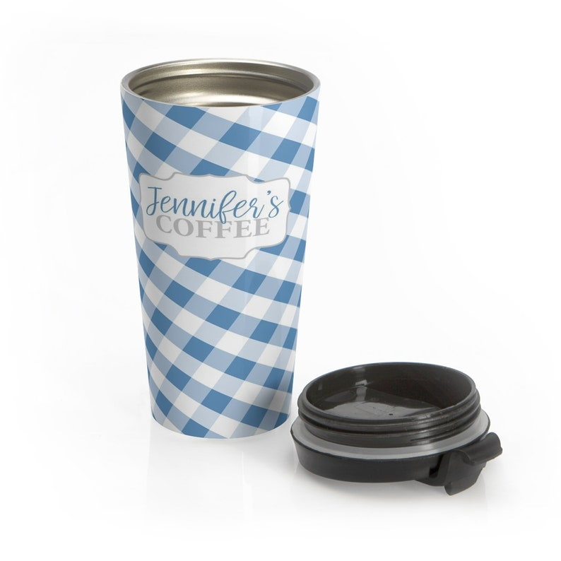 15oz stainless steel travel mug check pattern in blue and white Personalized Blue Gingham Travel Mug