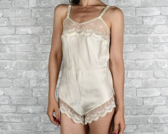 62c6e4499 Perfect vintage white satin and lace lingerie size small one piece teddy  body suit